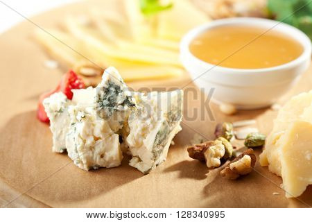 Cheese Platter with Honey Dip and Strawberries