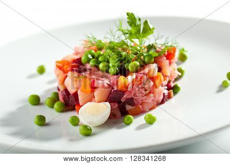 Beetroot and Potato Russian Salad Dressing with Green Peas