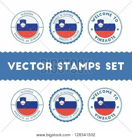 Slovene Flag Rubber Stamps Set. National Flags Grunge Stamps. Country Round Badges Collection.