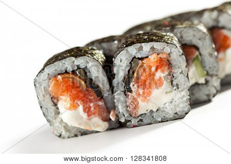 Roll made of Fresh Salmon, Smoked Eel and Cucumber inside. Nori outside
