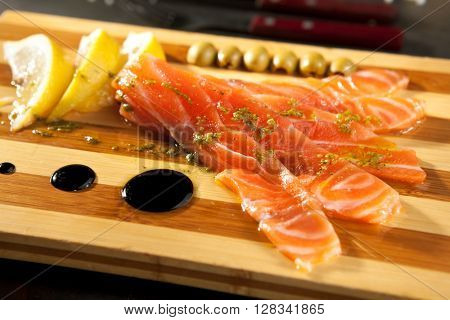 Cured Salmon Dressing with Olives and Lemon