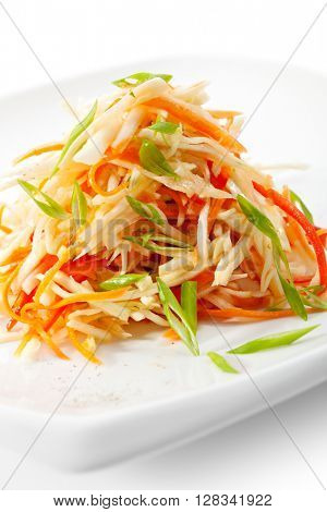 Healthy Vitamins Salad with Carrots, Apple, Bell Pepper and Greens