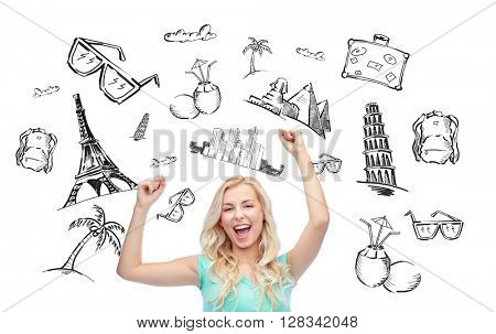 people, tourism, vacation and summer holidays concept - happy young woman or teenage girl celebrating victory over touristic doodles