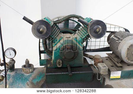 Electrical Air Compressor blue, metal, white equipment,