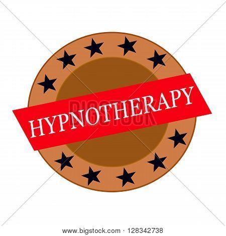 HYPNOTHERAPY white wording on Red Rectangle and Circle brown stars