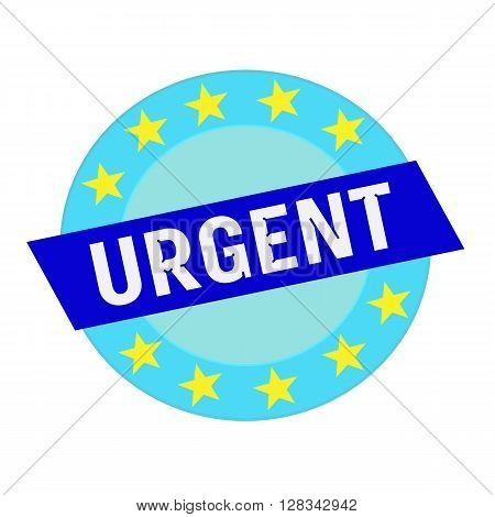 urgent white wording on blue Rectangle and Circle blue stars