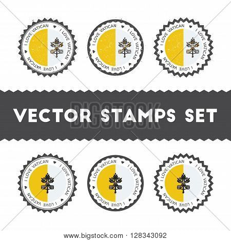 I Love Holy See (vatican City State) Vector Stamps Set. Retro Patriotic Country Flag Badges. Nationa