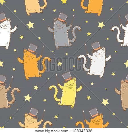 Magic seamless pattern with cute cartoon cats in hats magician with a magic wand on dark background. Children's illustration. Vector image.