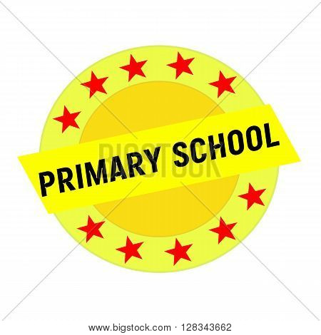 PRIMARY SCHOOL black wording on yellow Rectangle and Circle yellow stars