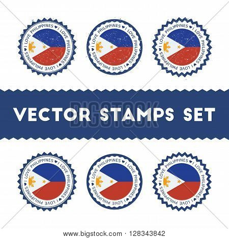 I Love Philippines Vector Stamps Set. Retro Patriotic Country Flag Badges. National Flags Vintage Ro