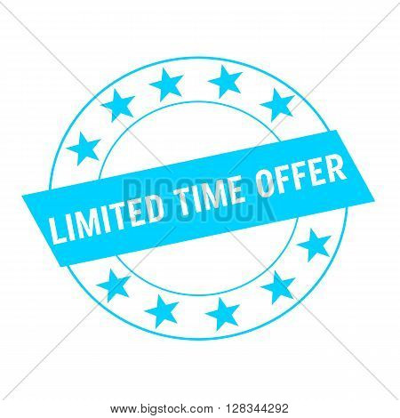 limited time offer white wording on blue Rectangle and Circle blue stars