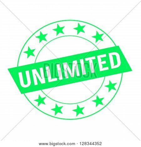 unlimited white wording on green Rectangle and Circle green stars