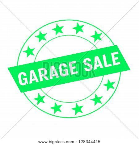 garage sale white wording on green Rectangle and Circle green stars