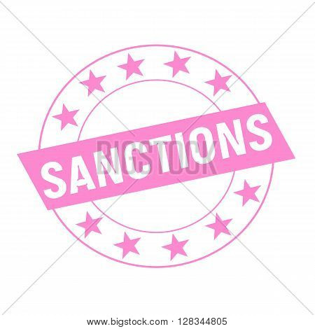 SANCTIONS white wording on pink Rectangle and Circle pink stars