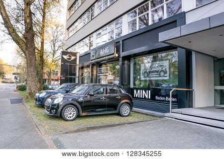 BADEN-BADEN, GERMANY - MAY 2: Office of official dealer Mini Coopers.  Mini Coopers are currently produced by BMW.  Germany, Baden-Baden, May 2, 2016