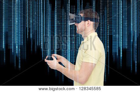 3d technology, virtual reality, programming, entertainment and people concept - happy young man with virtual reality headset playing with game controller gamepad over binary code and black background