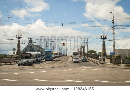 Akmens Bridge With National Library Of Latvia In The Background, Riga