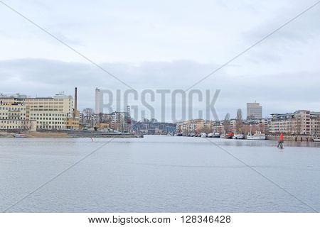Stockholm, Sweden - March, 19, 2016: The image of Baltic sea bank near Stockholm, Sweden