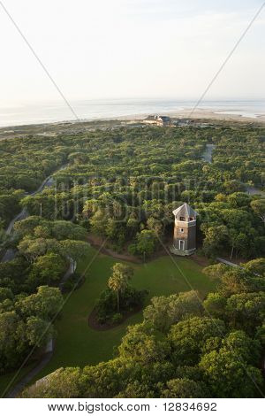 Aerial view of tower and park on Bald Head Island, North Carolina.