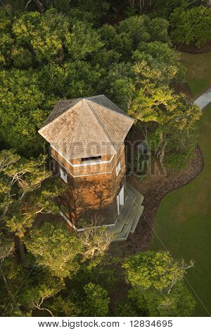 Rooftop view of tower building at Bald Head Island, North Carolina.