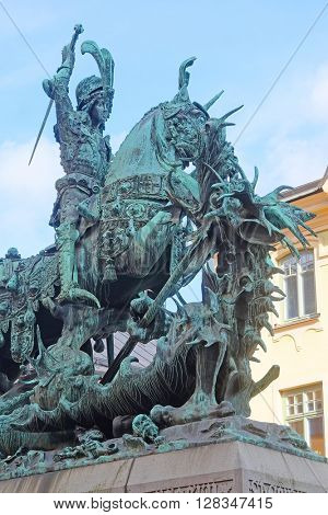 Stockholm, Sweden - March, 16, 2016: Statue of Sankt Goran, fighting with the Dragon in Stockholm, Sweden.