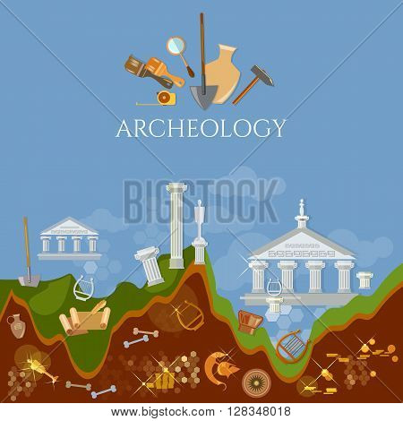 Archeology excavations of ancient treasures ruins of civilizations