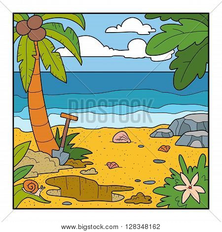 Vector Illustration, Background. Color Location To Search For The Treasure