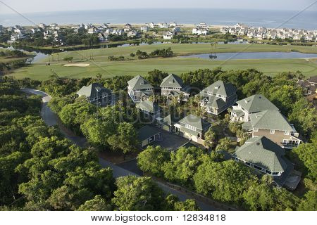 Aerial view of residential community on Bald Head Island, North Carolina.