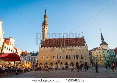 Tallinn Town Hall In Ancient Market Square, Estonia