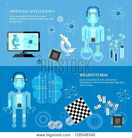 Artificial intelligence banners modern robot microchips technology of the future