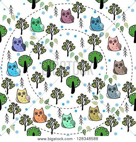 Owls in the forest vector seamless pattern. Vector owl. Animals and bird owl. Forest nature