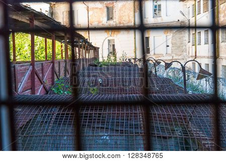 View throught the bars on Patarei prison yard Tallinn Estonia