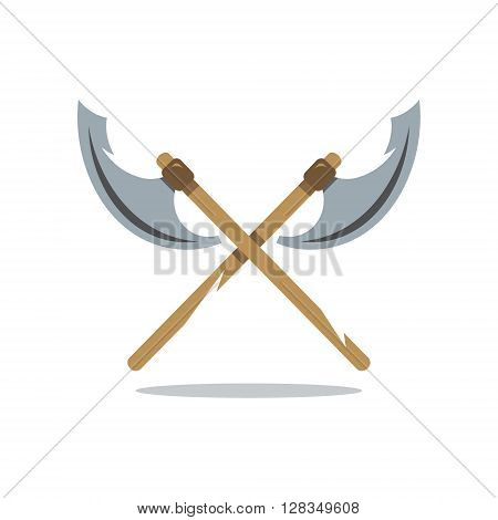 Crosswise Two historical Weapons Isolated on a White Background