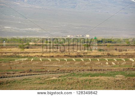 Turkish-Armenian border in front of Ararat mountain