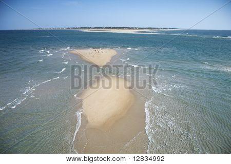 Scenic aerial seascape of beach and island at Baldhead Island, North Carolina.