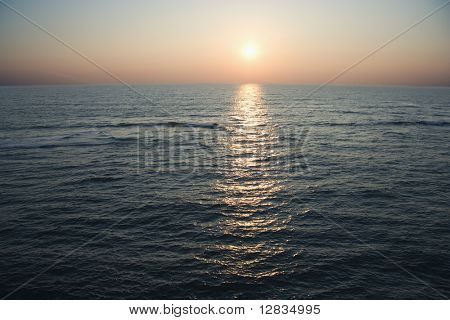 Scenic aerial seascape of ocean during sunset at Baldhead Island, North Carolina.