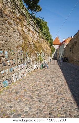 Man Selling Paitings In The Street Of Tallinn