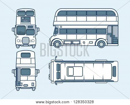 Set stock vector illustration isolated English red double-decker bus top, front, side, back view line style blue background Element info graphic, website, icon