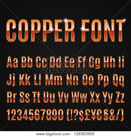 Copper alphabet letters numbers and signs currancy