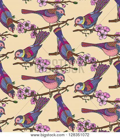 Seamless Pattern With  Hand Drawn Ornate Birds On Sakura Flower Branches.