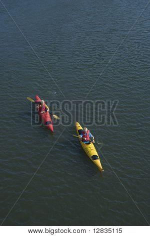 Aerial of two teenage boys kayaking on Bald Head Island, North Carolina.