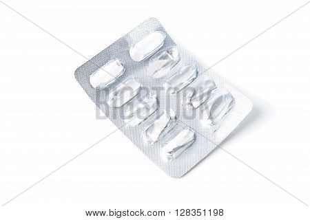 Empty Pill Blister Isolated With Soft Shadow