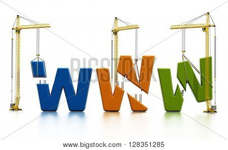 Colored www letters carried by construction cranes forming www word.
