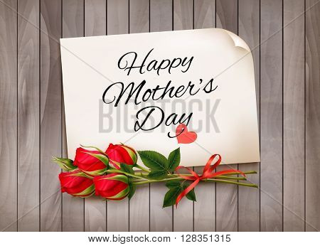 Mother's Day background with red roses. Vector.