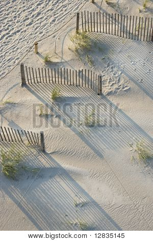 Aerial view of fences and marram grass on beach of Bald Head Island, North Carolina.