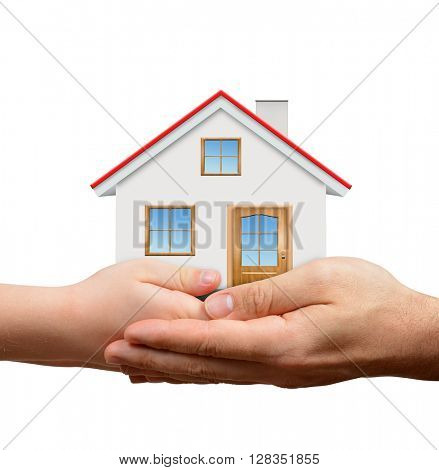 Child and male hands holding house isolated on white background