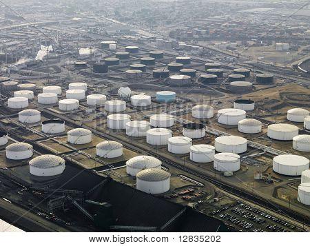 Aerial view of liquid storage tanks in Los Angeles California oil refinery.