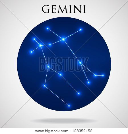 Constellation gemini zodiac sign isolated on white background vector illustration