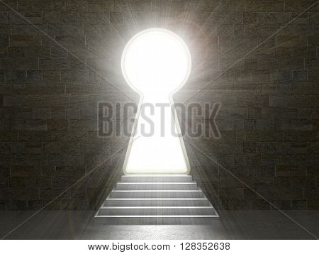 Keyhole in a stone wall isolated on a white background.3d illustration.