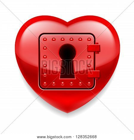 Glossy red heart with locked door. Love or life in safe